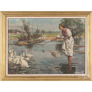 Oil on canvas of a woman with geese