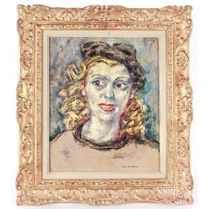 Kurt Hinrichsen (Denmark 1901-1963), oil on board portrait of a woman