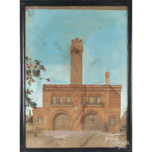 Mixed media drawing of the Frankford Fire Station