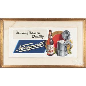 Carl Paulson (American 20th c.), gouache advertisement for Narragansett Ale