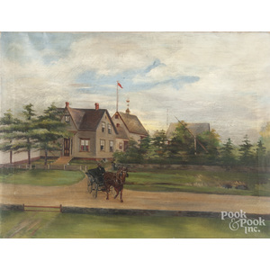 American oil on canvas country road with a farmhouse