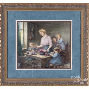 Watercolor interior scene