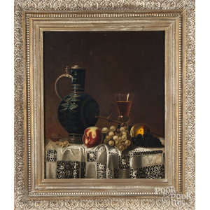 Oil on canvas still life, in the manner of Jean Robie