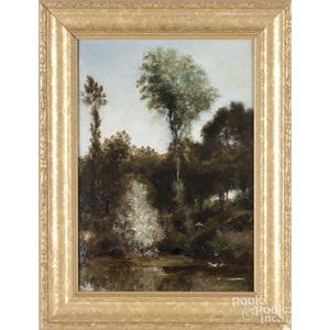 Oil on board landscape, early 20th c.