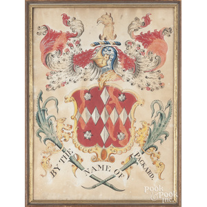 Watercolor Packard family crest, 19th c.