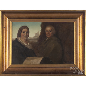 Oil on canvas of two figures