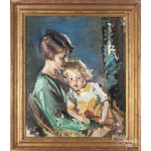 Oil on canvas portrait of a mother and child