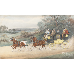 H. Whittaker Reville (British 19th c.), watercolor and gouache coaching scene