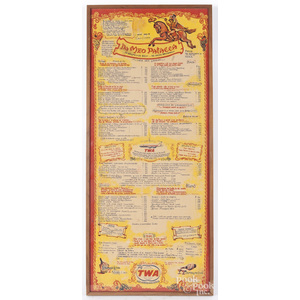 Framed TWA menu in Italian