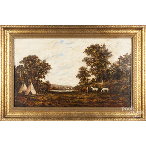 Oil on panel landscape with an Indian encampment