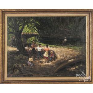 Pedro Amorsolo (Philippines 20th c.), oil on canvas landscape with children