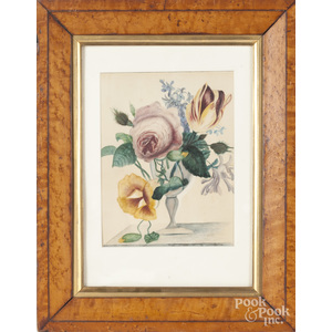 American watercolor floral drawing, 19th c.