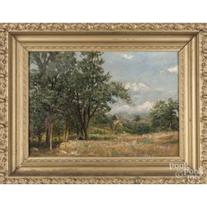 Charles Boizard (American b. 1851), oil on board landscape