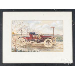 Gouache painting of an antique automobile
