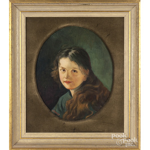 Pair of oil on board portraits of a girl and boy, early 20th c.