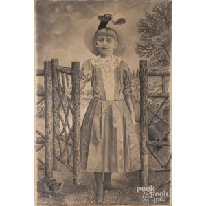 Large charcoal portrait of a girl, ca. 1900