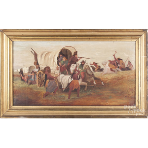 Oil on canvas primitive, late 19th c., with settlers and Indians fighting