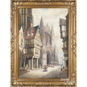 Watercolor view of Rouen Normandy