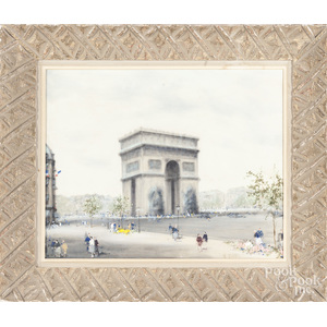 French oil on canvas of the Arc De Triomphe