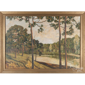 Oil on canvas landscape, early 20th c.