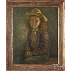 Oil on canvas portrait of a child, early/mid 20th c.