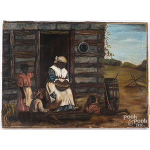 Primitive oil on canvas of an African American family