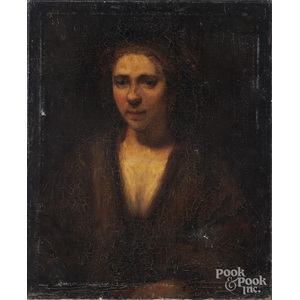 Bertha de Hellebranth (American 20th c.), oil on canvas portrait, after Rembrandt