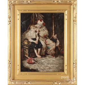 Oil on board of a boy and clown