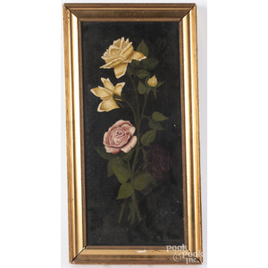 Oil on canvas of flowers, signed