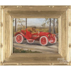 Oil on board of an antique automobile
