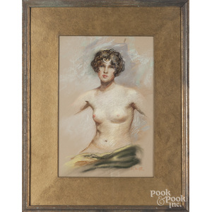 Henry Davenport (American b. 1882), pastel female nude