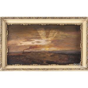 Oil on board landscape with train, ca. 1900
