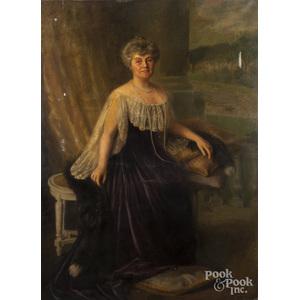 Carnig Eksergian (American 1855-1931), oil on canvas portrait of a woman