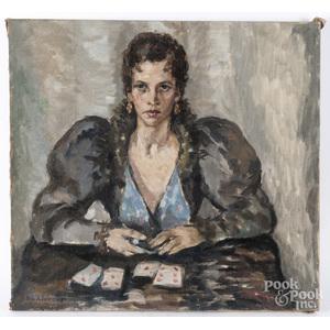 Bertha de Hellebranth (American 20th c.), oil on canvas portrait