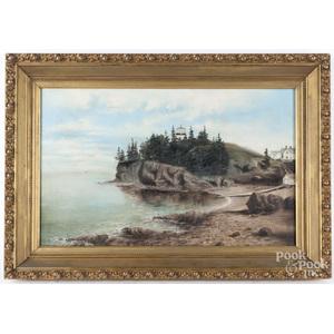 New England oil on canvas coastal scene, early 20th c.