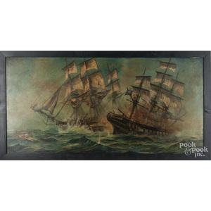 Lloyd Garrison (American 20th c.), oil on canvas naval engagement