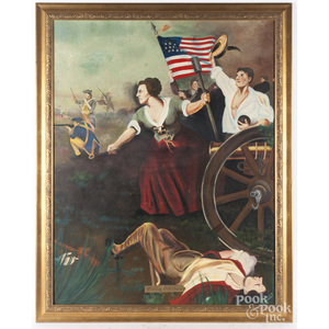 Oil on canvas illustration of Molly Pitcher, 20th c.