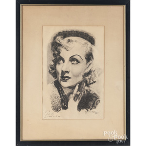 Edward Keller (American 20th c.), two charcoal portaits of Carole Lombard and Charles Laughton