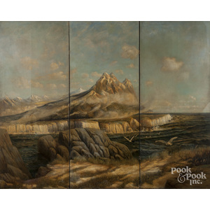 Tyrone Power (American 1914-1958), oil on canvas three-part folding screen depicting a coastal scene