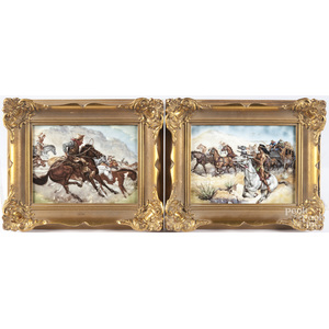 Pair of R.P.M. Germany painted porcelain plaques with cowboys and Indians
