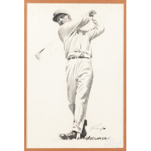 Arthur Sarnoff (American 1912-2000), charcoal drawing of a golfer