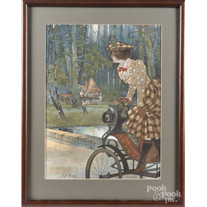 Four framed works relating to early automobiles and racing