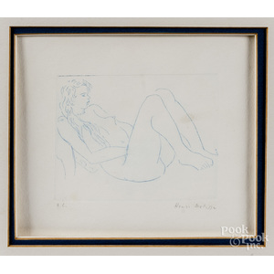 Henri Matisse signed etching of a blue nude