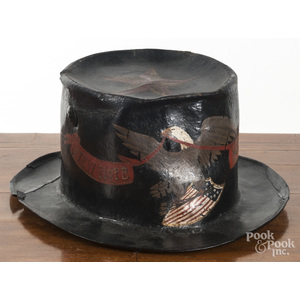Painted fire parade hat with later decoration