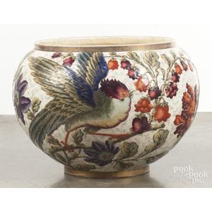 Large Luneville pottery jardinière