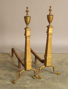 Pair of Federal style brass andirons, 28