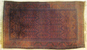 Turkoman carpet, ca. 1920, with repeating geometri