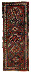 Kazak long rug, ca. 1900, with six medallions on a