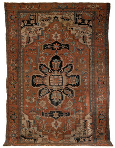 Serapi carpet, ca. 1900, with a central navy medal