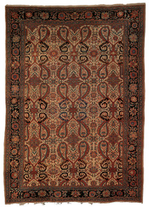 Persian carpet, ca. 1900, with mother and child de
